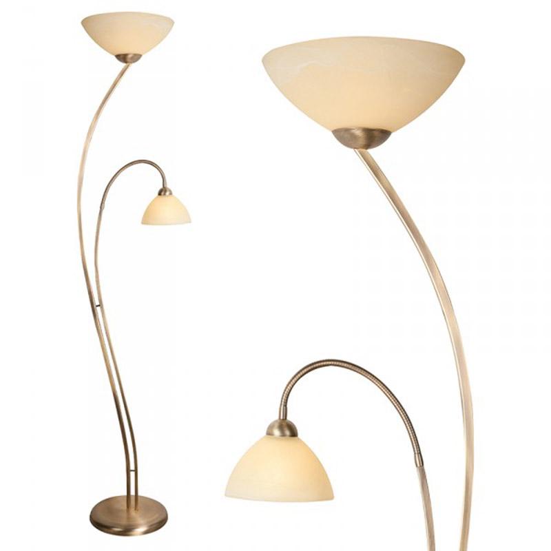 Vloerlamp Corsaire 2 brons met creme