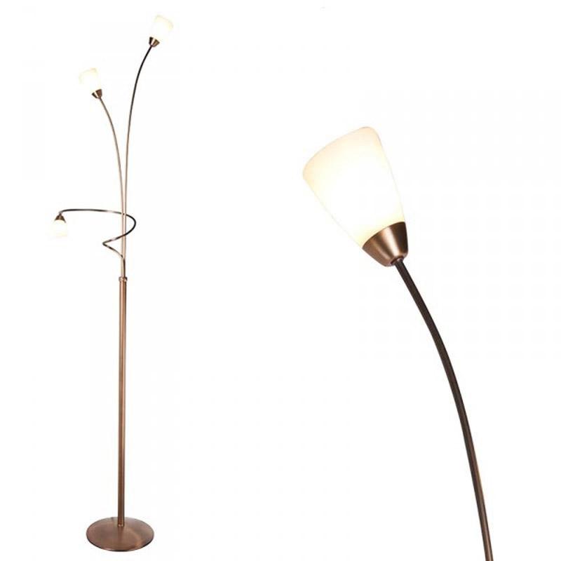 Vloerlamp Elegancia 3 brons met creme