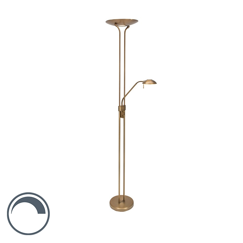 Moderne Vloerlamp Brons Met Leeslamp Incl. Led - Olet