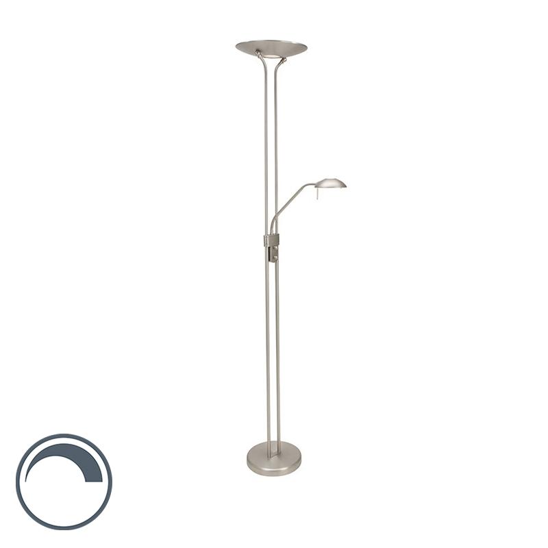 Moderne Vloerlamp Staal Met Leeslamp Incl. Led - Olet
