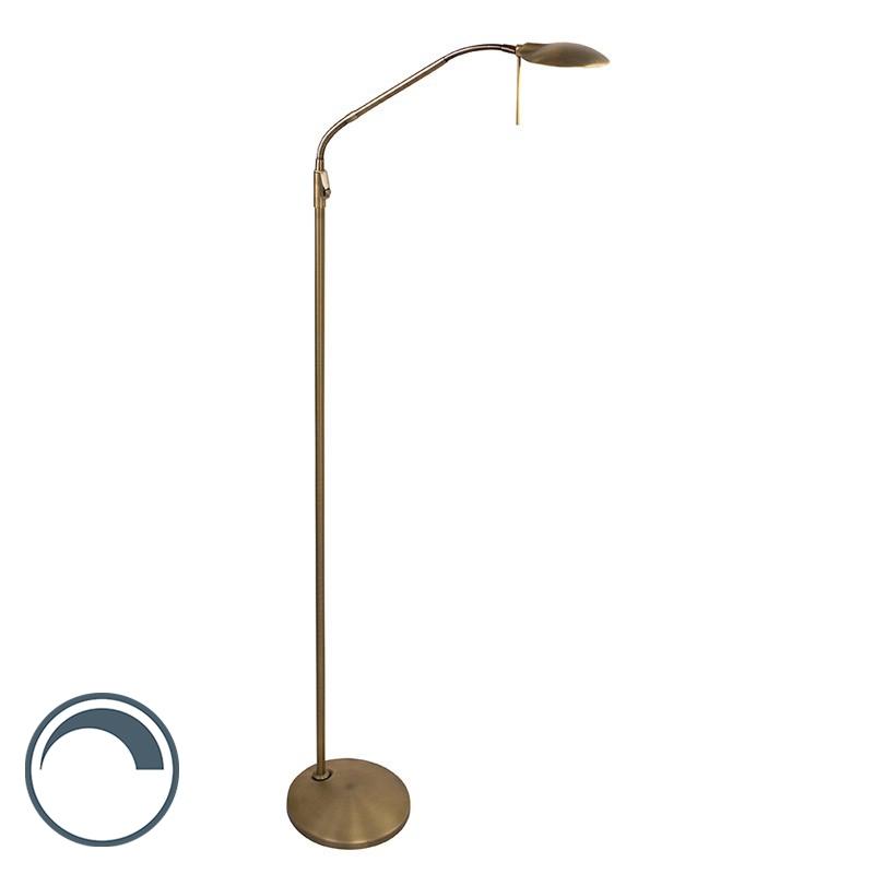 Klassieke verstelbare leeslamp LED met dimmer brons - Timon