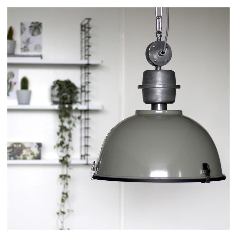 Industri�le hanglamp groen-grijs met blank staal - Gospodin