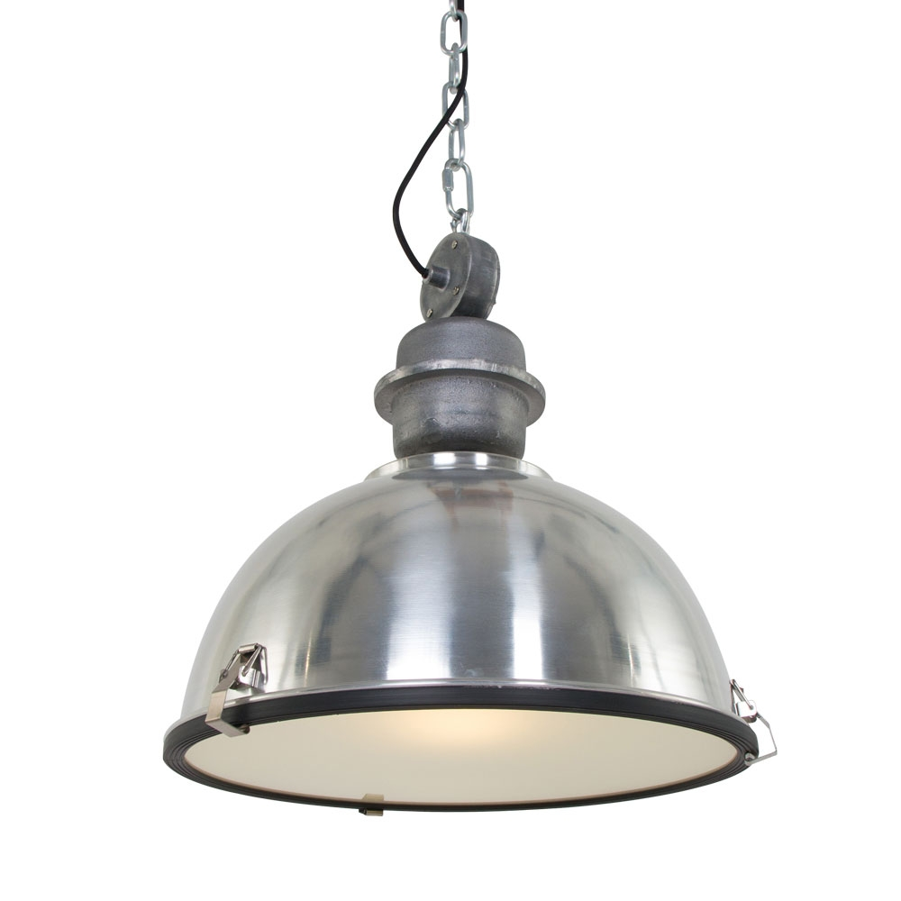 Industriele hanglamp aluminium met blank staal - Gospodin