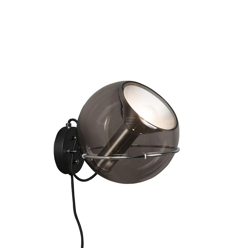 Retro wandlamp zwart kantelbaar - Strike