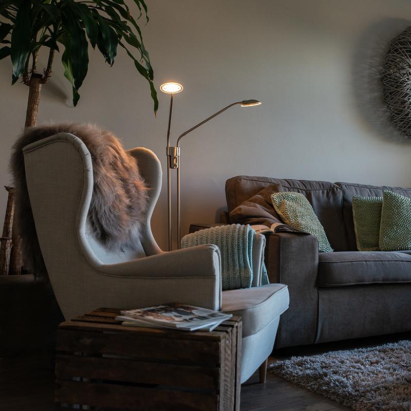 Moderne vloerlamp staal met leeslamp incl. LED - Eva