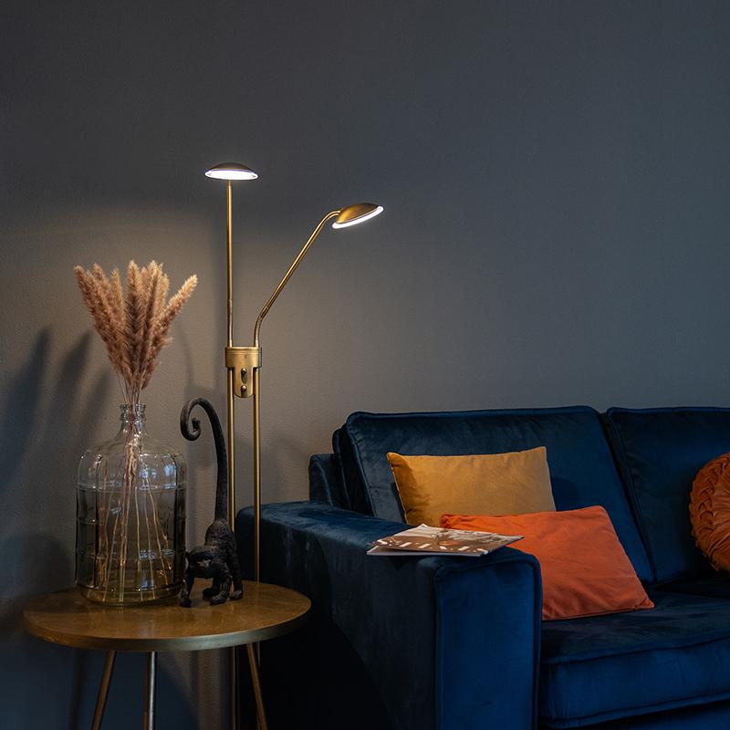 Moderne vloerlamp brons met leeslamp incl. LED - Eva