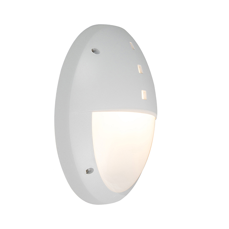 Moderne ovale buitenwandlamp grijs met half glas - Danzi