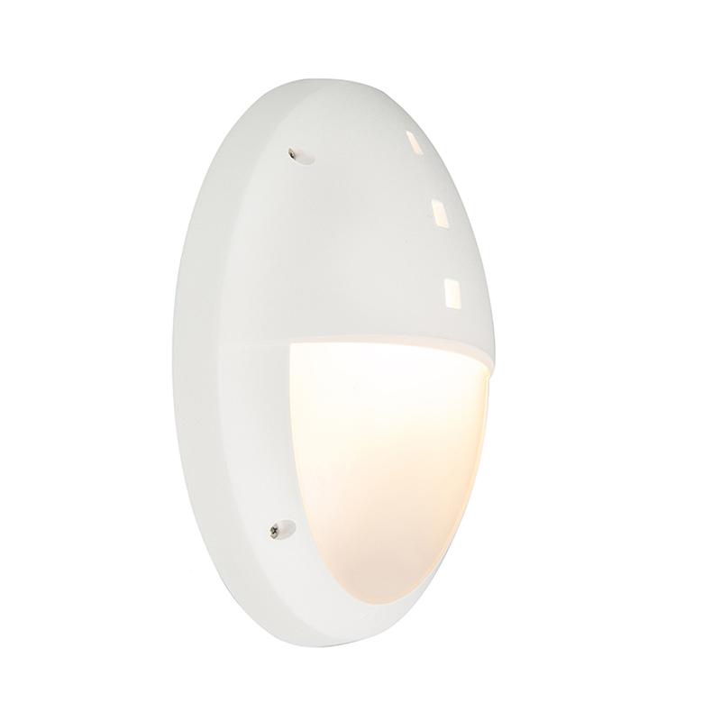 Moderne ovale buitenwandlamp wit met half glas - Danzi
