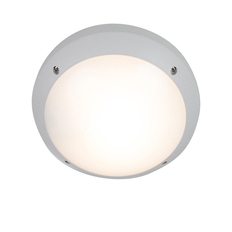 Moderne ronde buitenwandlamp grijs - Gelmi