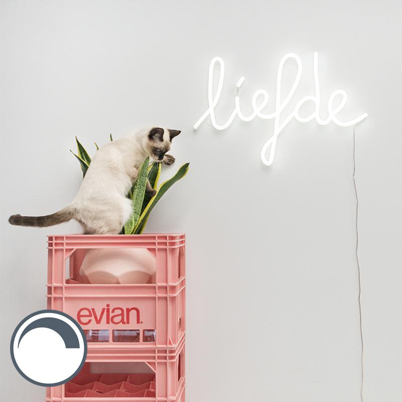 Wandlamp wit met afstandsbediening incl. LED - Neon Liefde