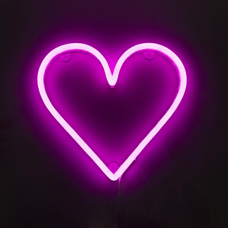 Wandlamp roze met afstandsbediening incl. LED - Neon hart