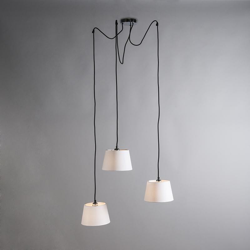 Hanglamp Cava 3 chroom met witte kappen