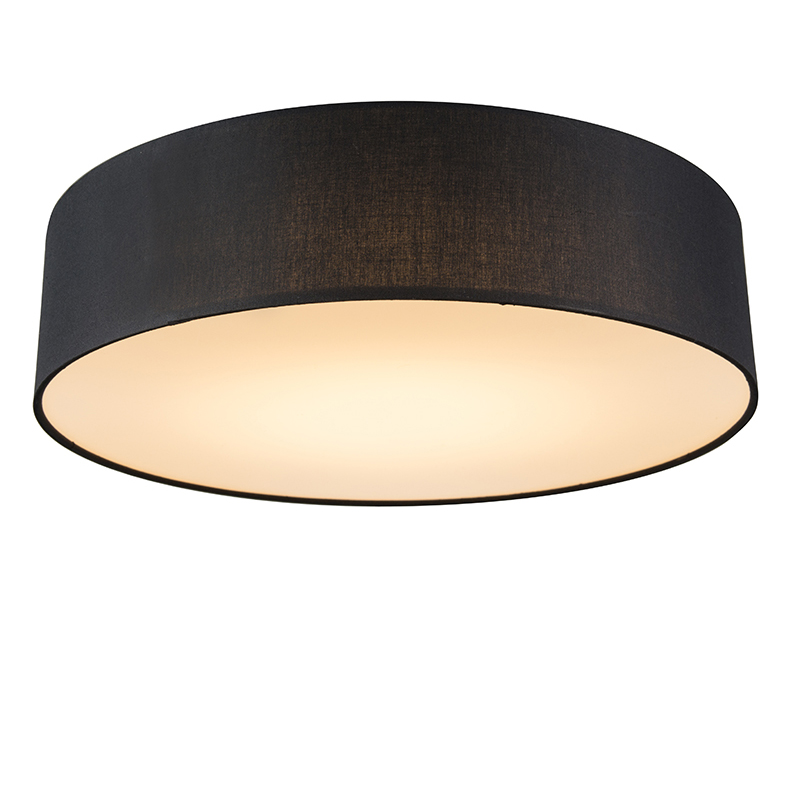 Plafondlamp zwart 40 cm incl. LED - Drum LED