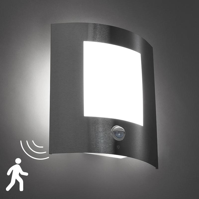 Wandlamp Emmerald 1 Staal Bewegingssensor