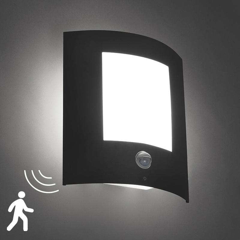 Wandlamp Emmerald donker grijs bewegingssenor