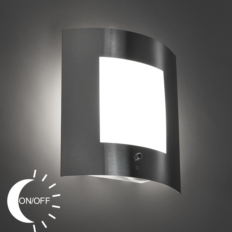 Wandlamp Emmerald 1 staal licht-donker sensor