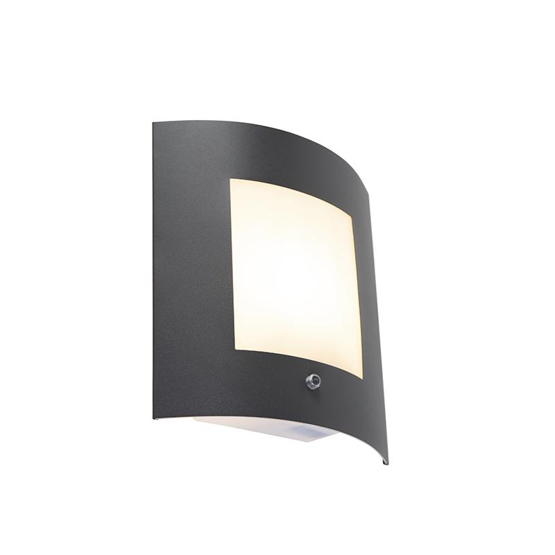 Buitenwandlamp antraciet IP44 licht-donker sensor - Emmerald 1