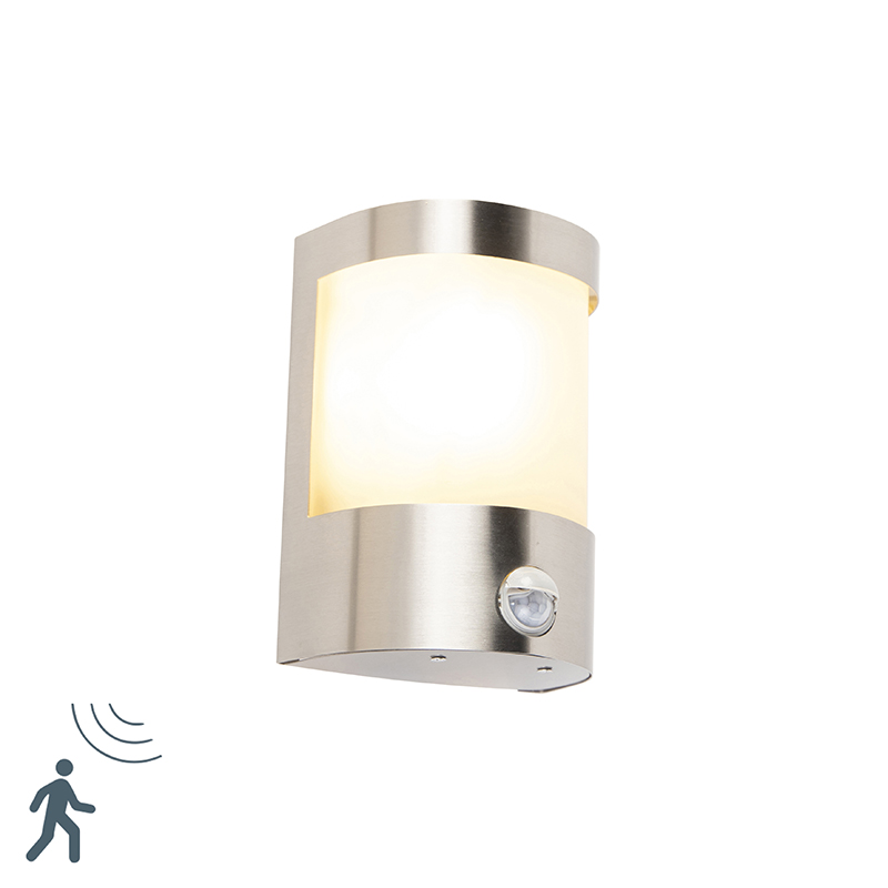 Moderne buitenwandlamp RVS bewegingssensor IP44 - Mira