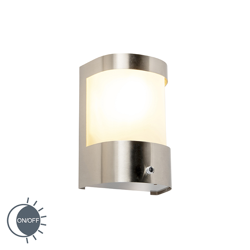 Buitenwandlamp RVS licht-donker sensor - Mira