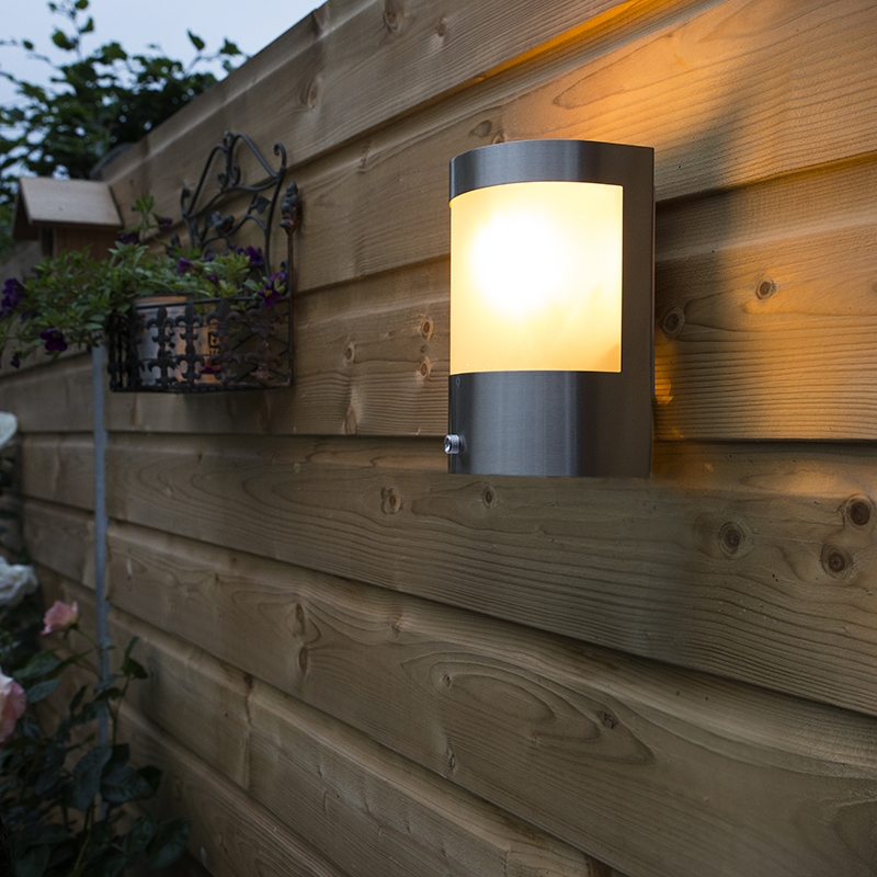 Wandlamp Mira RVS licht-donker sensor