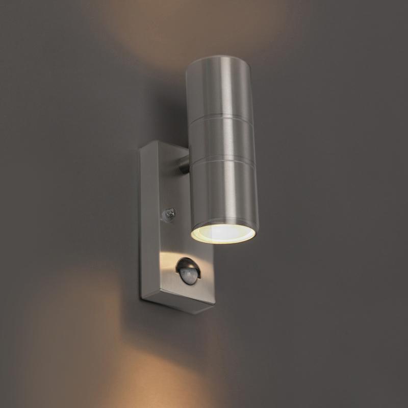 Buitenwandlamp staal IP44 met bewegingssensor - Duo