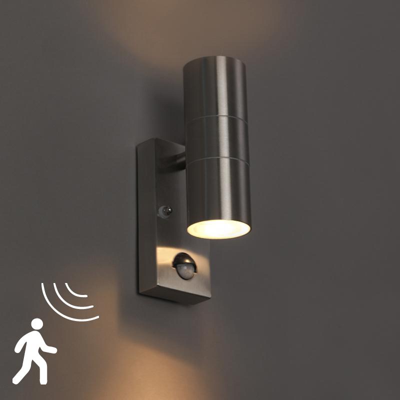 Wandlamp Duo staal bewegingssensor
