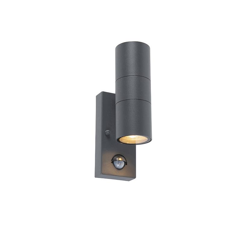 Kinkiet zewnętrzny antracyt IP44 z czujnikiem ruchu - Duo