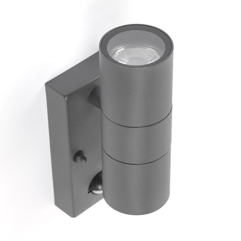 Buitenwandlamp antraciet IP44 met bewegingssensor - Duo