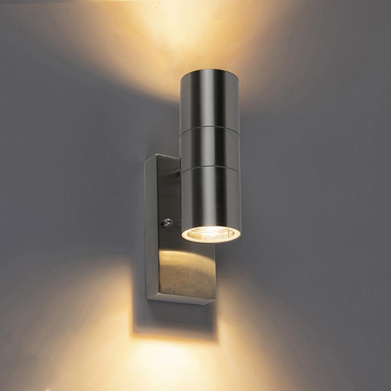 Buitenwandlamp staal IP44 met licht-donker sensor - Duo