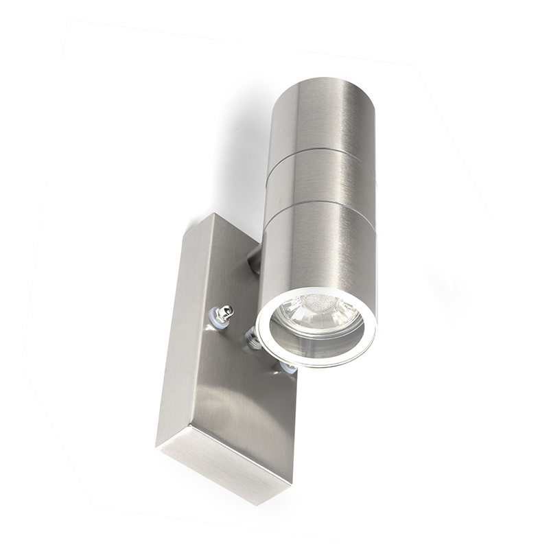 Wandlamp Duo Staal Licht-donker Sensor