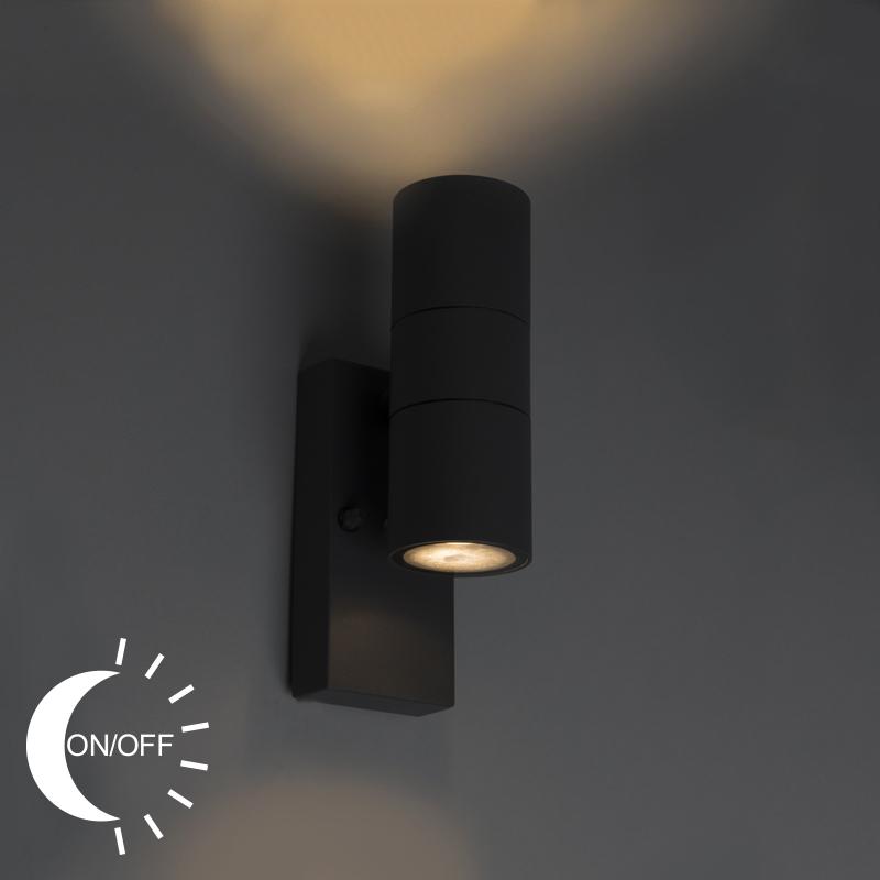 Wandlamp Duo donkergrijs licht-donker sensor