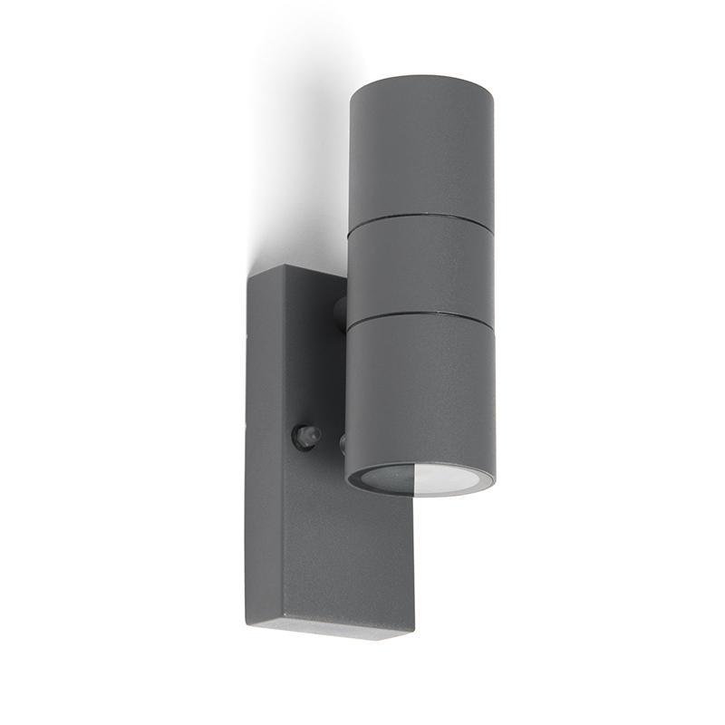 Buitenwandlamp antraciet IP44 met licht-donker sensor - Duo
