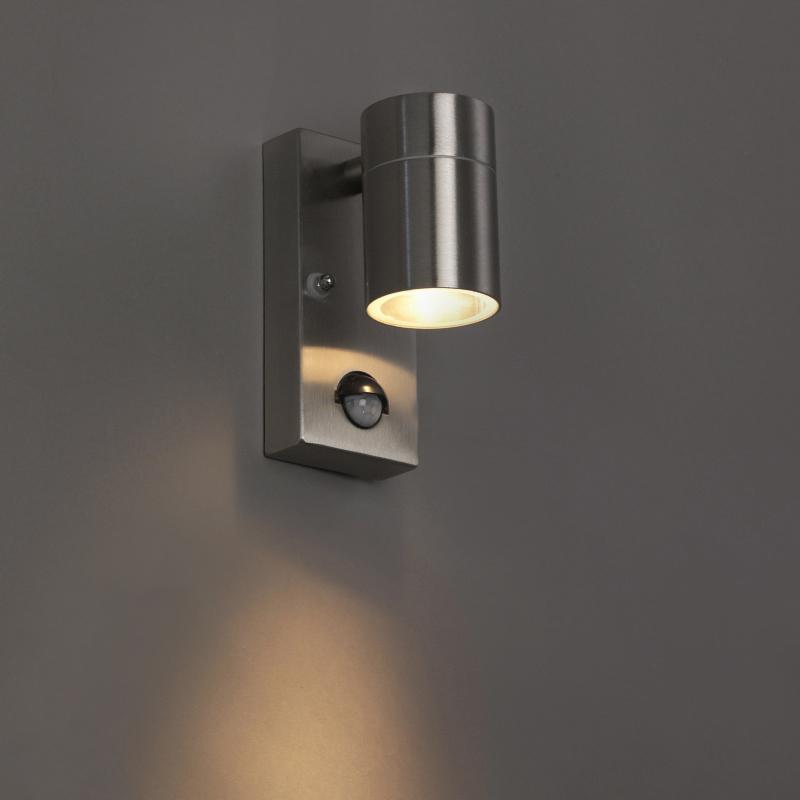 Buitenwandlamp staal IP44 met bewegingssensor - Solo