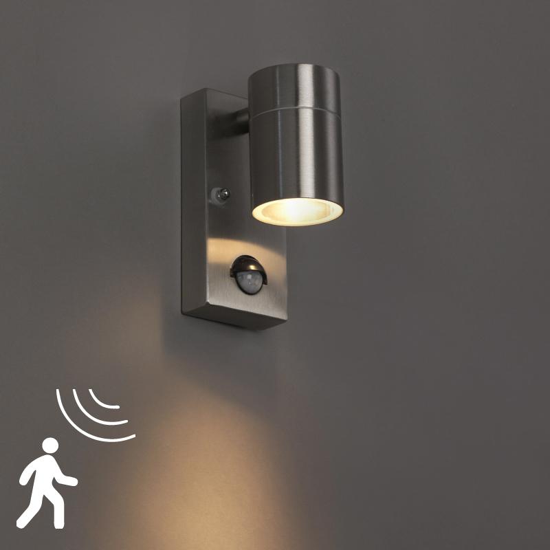 Wandlamp Solo staal bewegingssensor