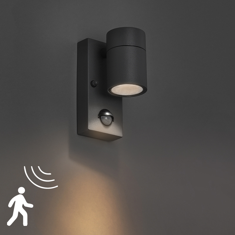 Buitenwandlamp antraciet IP44 met bewegingssensor - Solo