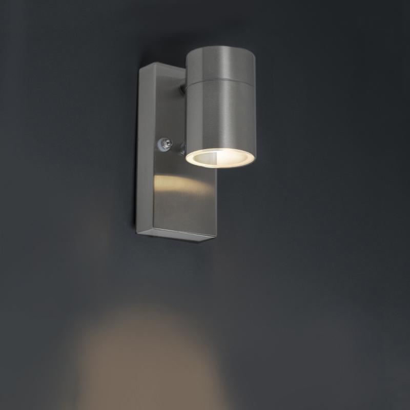 Buitenwandlamp staal IP44 met licht-donker sensor - Solo