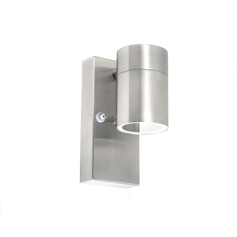 Buitenwandlamp staal met licht-donker sensor - Solo