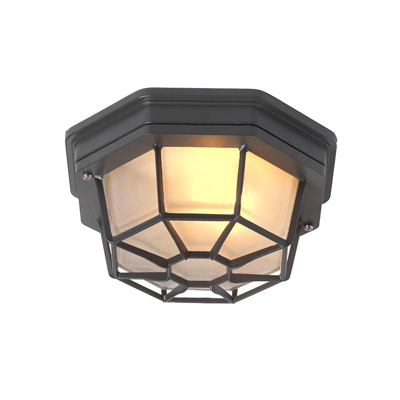 Landelijke plafondlamp donkergrijs IP44 - Bri S