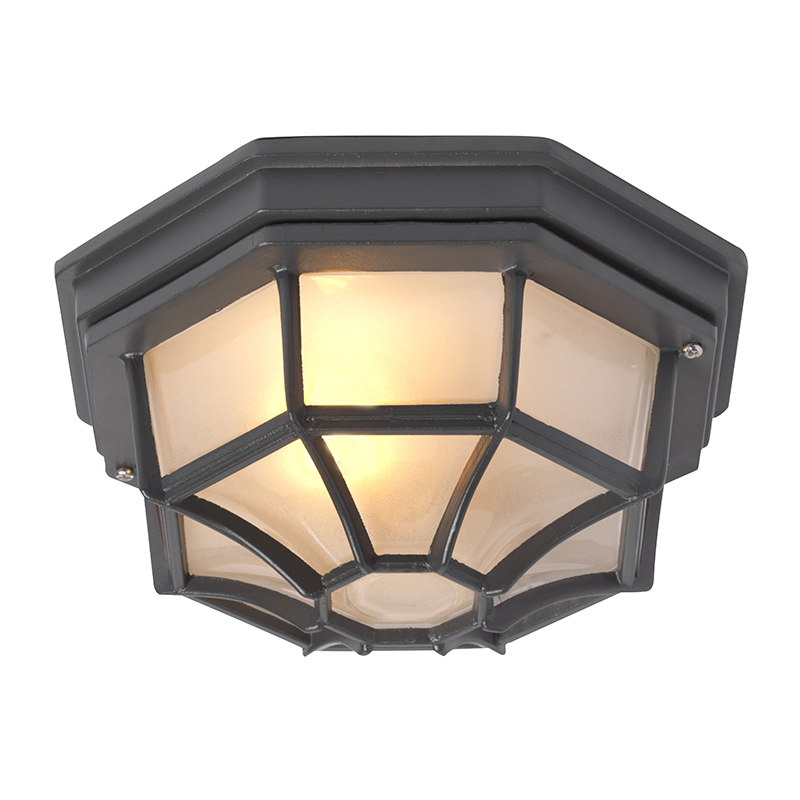 Landelijke plafondlamp donkergrijs IP44 - Bri L