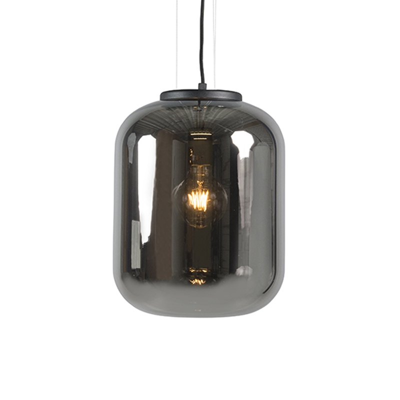Designerska lampa wisząca czarna przydymione szkło - Bliss