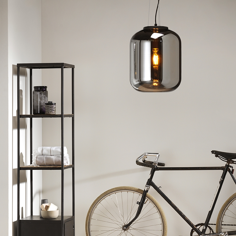 Design hanglamp zwart met smoke glas - Bliss