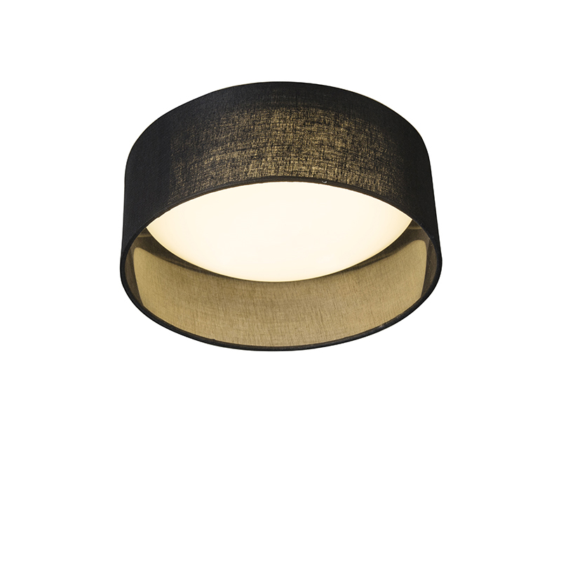 Plafondlamp zwart 28 cm incl. LED - Drum Combi