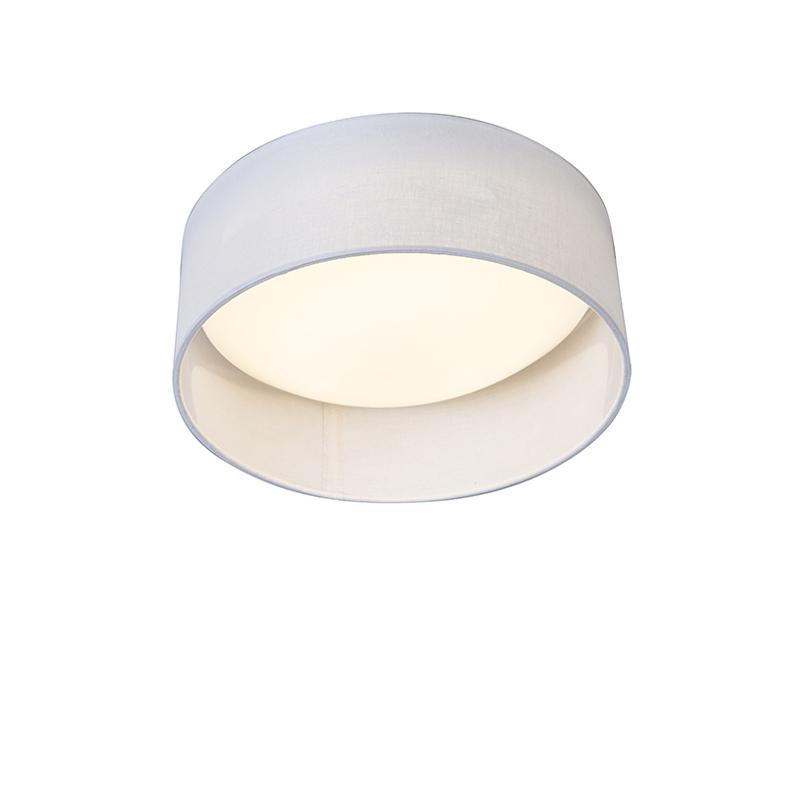 Plafonniere wit 28 cm incl. LED - Drum Combi