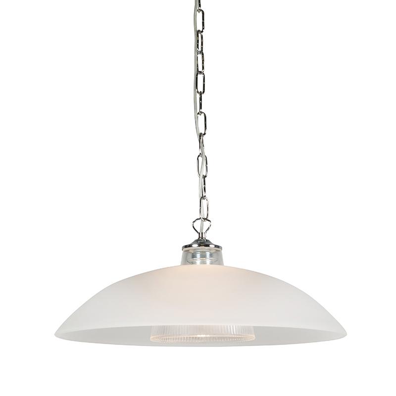 Hanglamp Monta chroom met mat glas