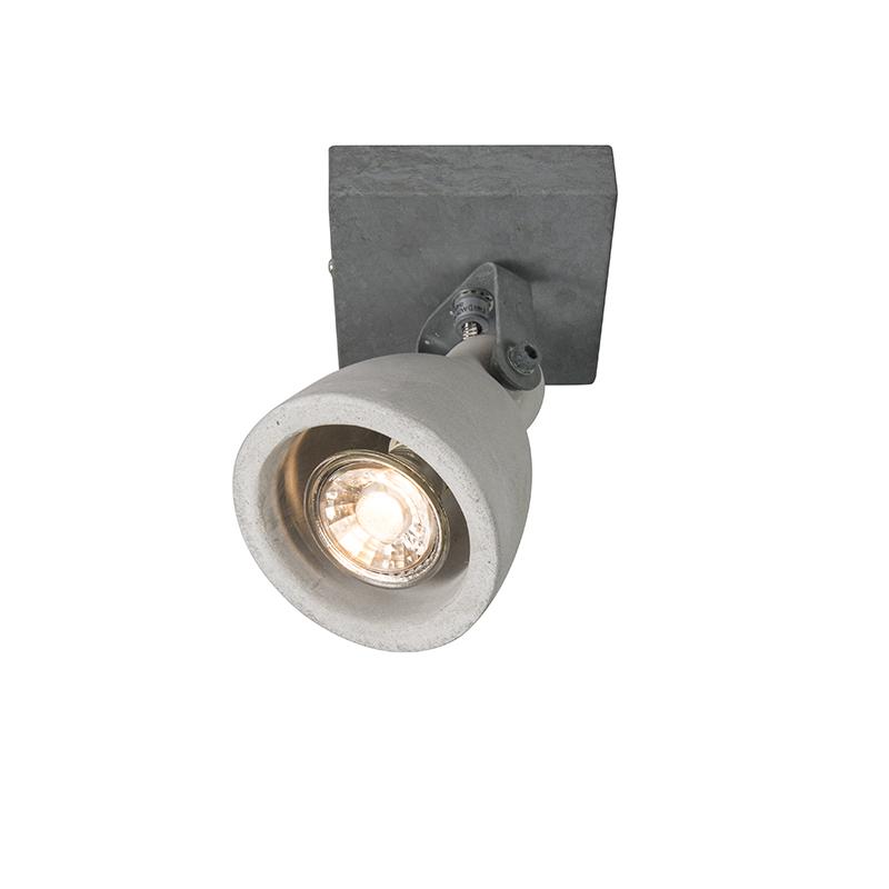 Set van 6 industriële spots grijs beton 1-lichts - Creto