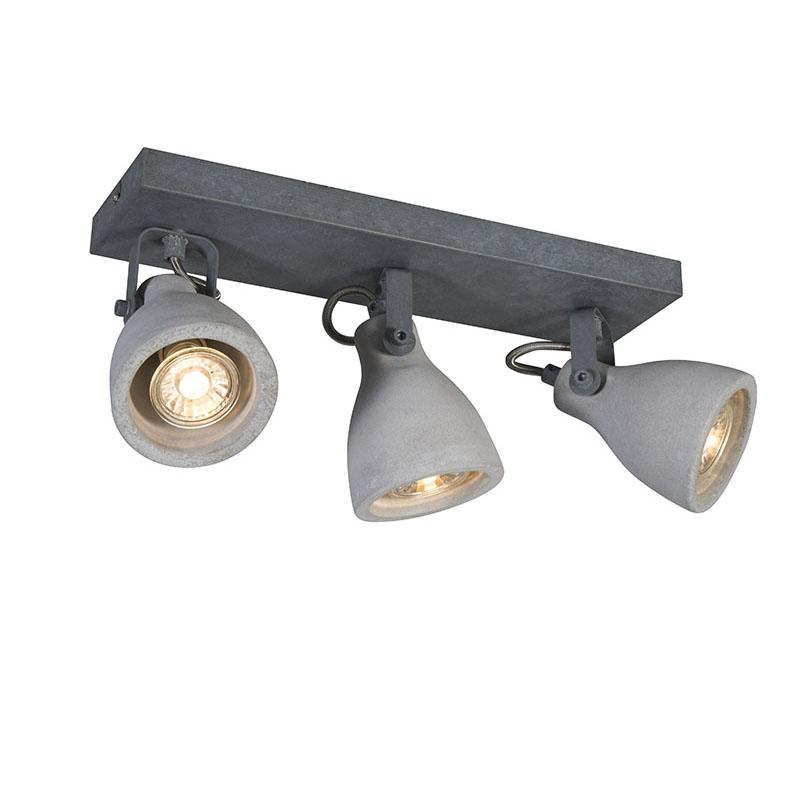 Industriële spot grijs beton 3-lichts - Creto
