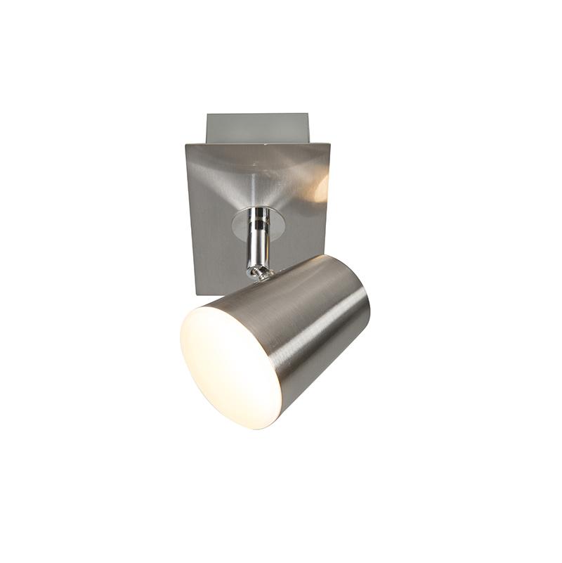 Moderne wandspot staal met schakelaar incl. LED - Coupe