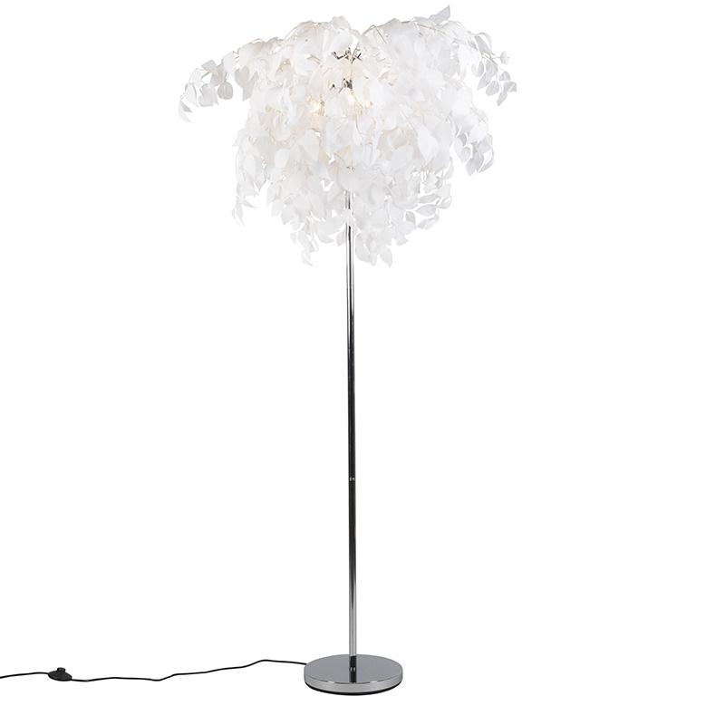 Romantyczna lampa stojąca chrom z białymi liśćmi - Feder
