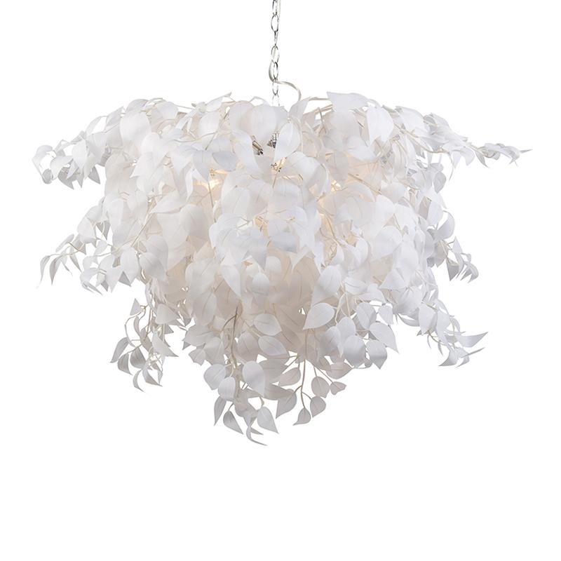 Moderne hanglamp chroom met witte blaadjes 100cm diameter - Feder