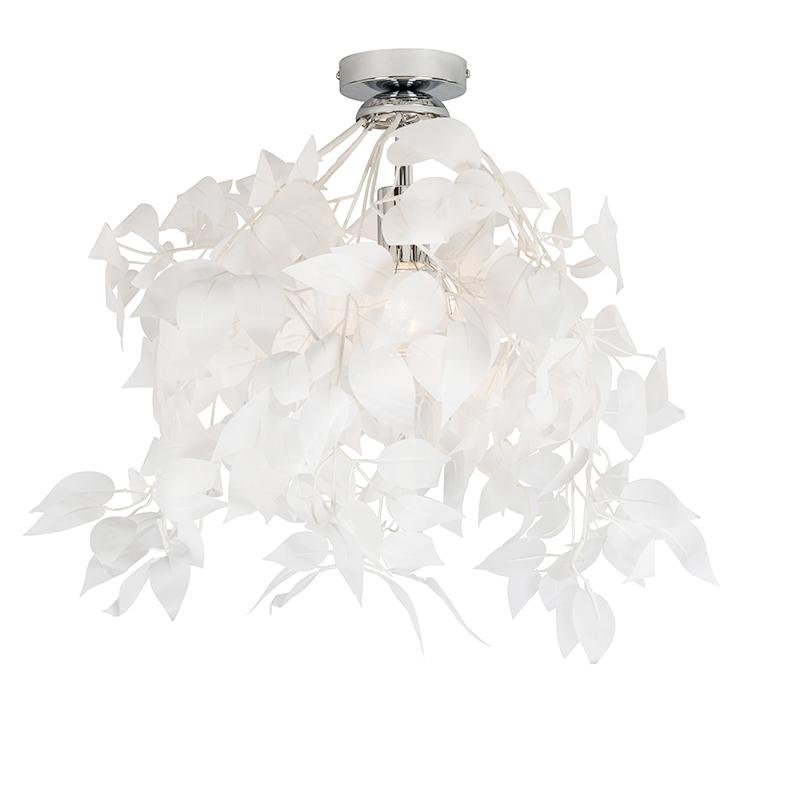 Moderne plafondlamp chroom met witte blaadjes 50cm - Feder